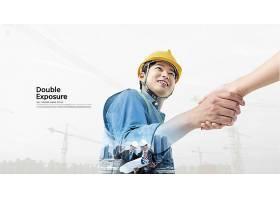 施工人员主题简洁时尚海报设计