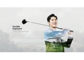 打高尔夫的人主题简洁时尚海报设计