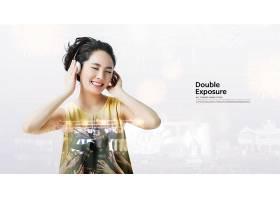 戴耳机听音乐的女子主题简洁时尚海报设计