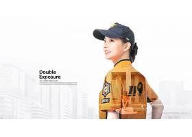 韩国年轻女服务员主题简洁时尚海报设计
