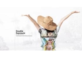 休闲度假的女背影主题简洁时尚海报设计