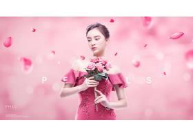 简洁粉色花卉花瓣年轻女子主题海报设计