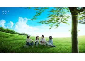 绿色年轻女子亲近大自然新鲜空气远离城市主题海报设计