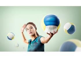 排球女运动员主题人物海报设计