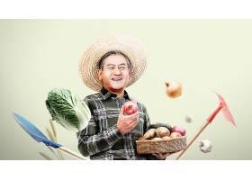 农夫与新鲜的蔬果主题人物海报设计