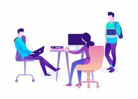 扁平化人物商务办公主题网页插画设计