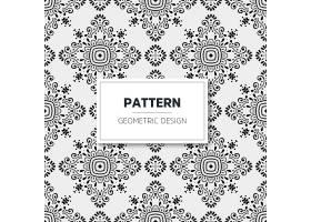 单色曼陀罗图案几何设计无缝装饰背景