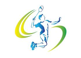 羽毛球运动员主题徽章图标LOGO设计