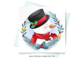 可爱的圣诞老人鹿和雪人圣诞节海报素材