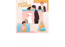 婚礼结婚新人恋人主题矢量插画设计