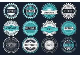 蓝色大气欧式圆形边框标签设计
