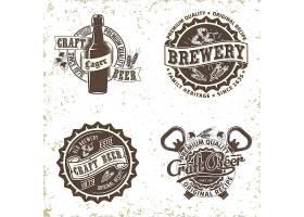 单色复古啤酒主题图标LOGO徽章设计