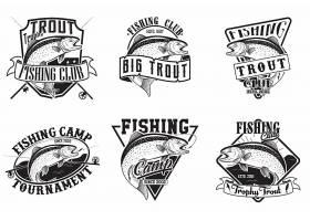 单词复古钓鱼垂钓海钓主题图标LOGO徽章设计