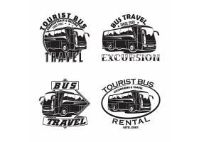 大巴汽车主题图标LOGO徽章设计