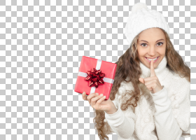 拿着礼物做嘘动作的女性