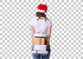 戴圣诞帽拿着礼物的女性背影