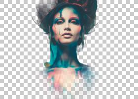 女性颜料艺术照