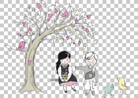 手绘荡秋千的女孩与男孩免扣插画素材图片