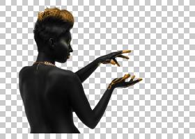 全身黑色皮肤的女性艺术照