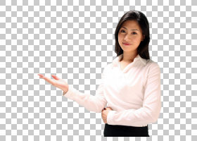 做欢迎手势的职场商务女性