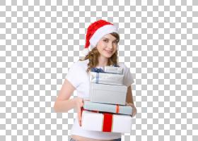 戴圣诞帽捧着礼物的女性