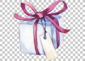 清新水彩手绘礼盒与标签免扣插画素材图片