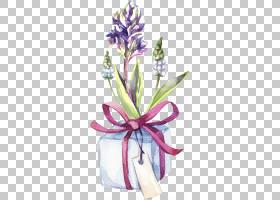 清新手绘花卉植物与礼盒免扣插画素材图片