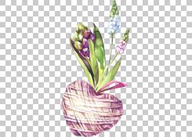 手绘水彩爱心植物免扣插画素材图片
