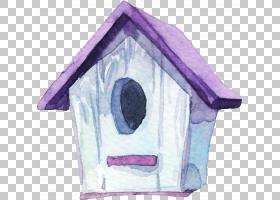 水彩手绘鸟屋免扣插画素材图片