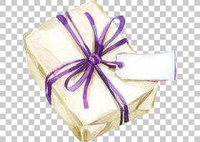 水彩礼物盒与标签免扣插画素材图片