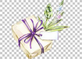 文艺清新礼物盒植物花卉免扣插画素材图片