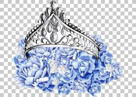 蓝色花卉与公主头饰免扣插画素材图片
