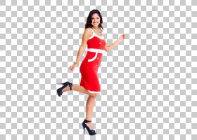 穿红色连衣裙的女性