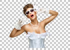 性感戴墨镜的女性