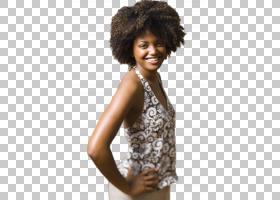 单手叉腰的黑人爆炸头女性