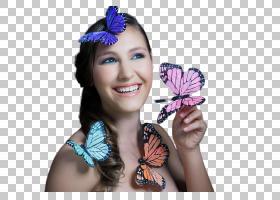 女性与蝴蝶艺术照
