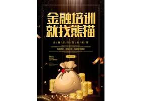 简约创意金融培训就找熊猫宣传海报