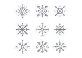 清新对称雪花图形装饰图案矢量元素
