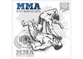 灰色大气职业摔角手格斗大赛插画设计