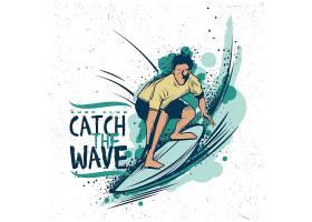 冲浪的人主题复古北欧风插画设计