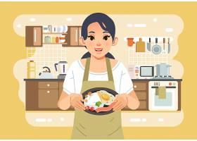 烹饪的女子主题矢量插画设计