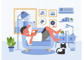 躺着看书的男子主题矢量插画设计