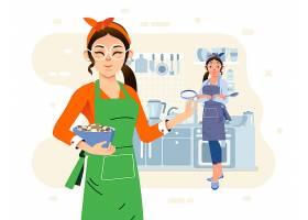 家庭主妇主题矢量插画设计