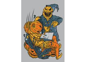 南瓜头恶魔个性万圣节插画设计