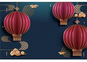 中国风红灯笼新年快乐新年主题2021装饰图案