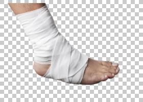 纱布包裹的受伤的右脚