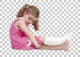 小女孩足部手势包裹上石膏
