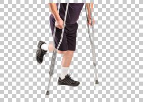 使用拐杖支撑架的男性