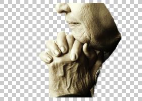 老人家双手合十的手