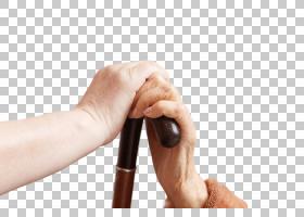 握着拐杖的老年人的手